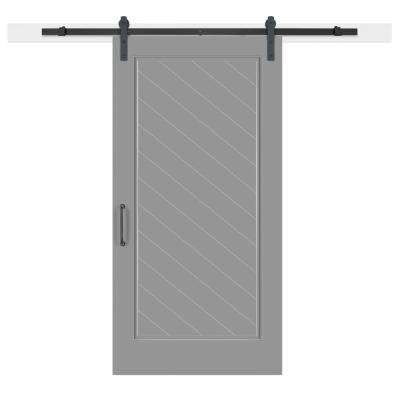 42 in. x 84 in. Gray Geese Composite 1-Panel Herringbone Solid-Core MDF Barn Door with Sliding Door Hardware Kit