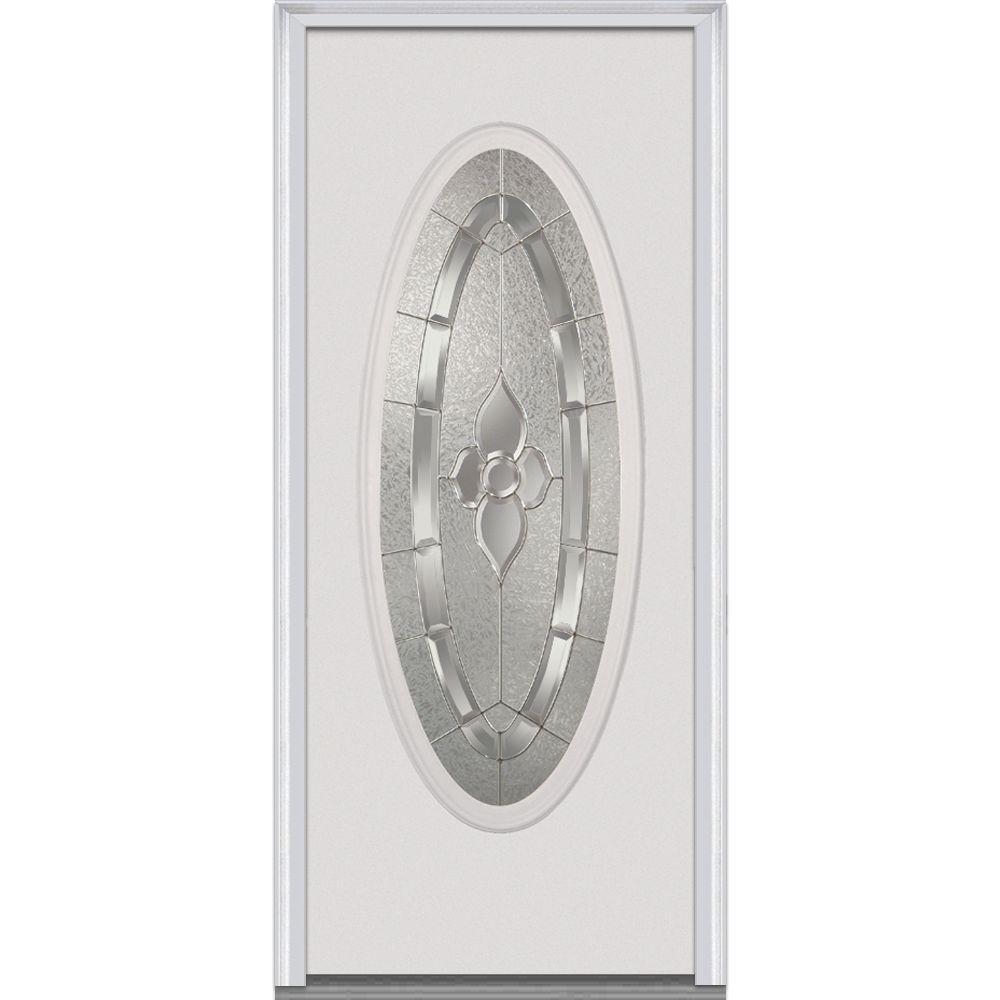Milliken Millwork 32 in. x 80 in. Master Nouveau Decorative Glass Oval Full Lite Primed White Steel Prehung Front Door
