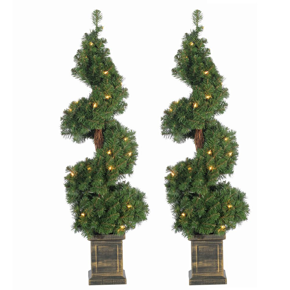 Potted Artificial Christmas Tree: Sterling 3.5 Ft. Pre-Lit Potted Spiral Artificial