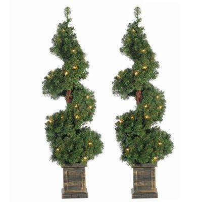 3.5 ft. Pre-Lit Potted Spiral Artificial Christmas Tree (Set of 2)