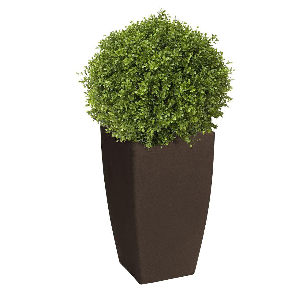 Algreen Madison 20 in. Square Brownstone Rounded Plastic Planter with 12 in. Pot Insert
