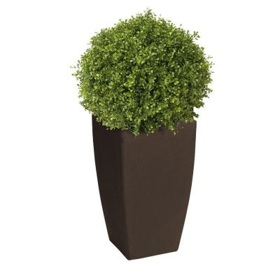 Madison 20 in. Square Brownstone Rounded Plastic Planter with 12 in. Pot Insert