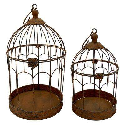 10 in. x 10 in. Brown Metal Bird Cages (Set of 2)