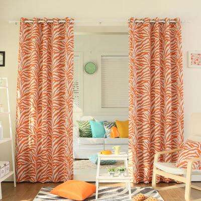 84 in. L Orange Zebra Room Darkening Curtain Panel (2-Pack)