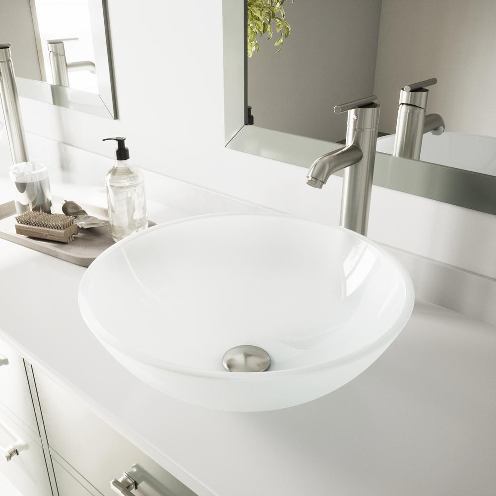 Vigo Glass Vessel Bathroom Sink In White Frost With Faucet Set In
