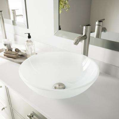 Glass Vessel Bathroom Sink in White Frost with Faucet Set in Brushed Nickel