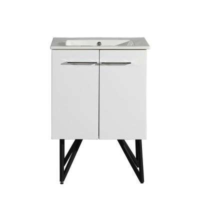 Annecy 24 in. Single, Two Doors, Bathroom Vanity in White, with White Countertop, with White Basin