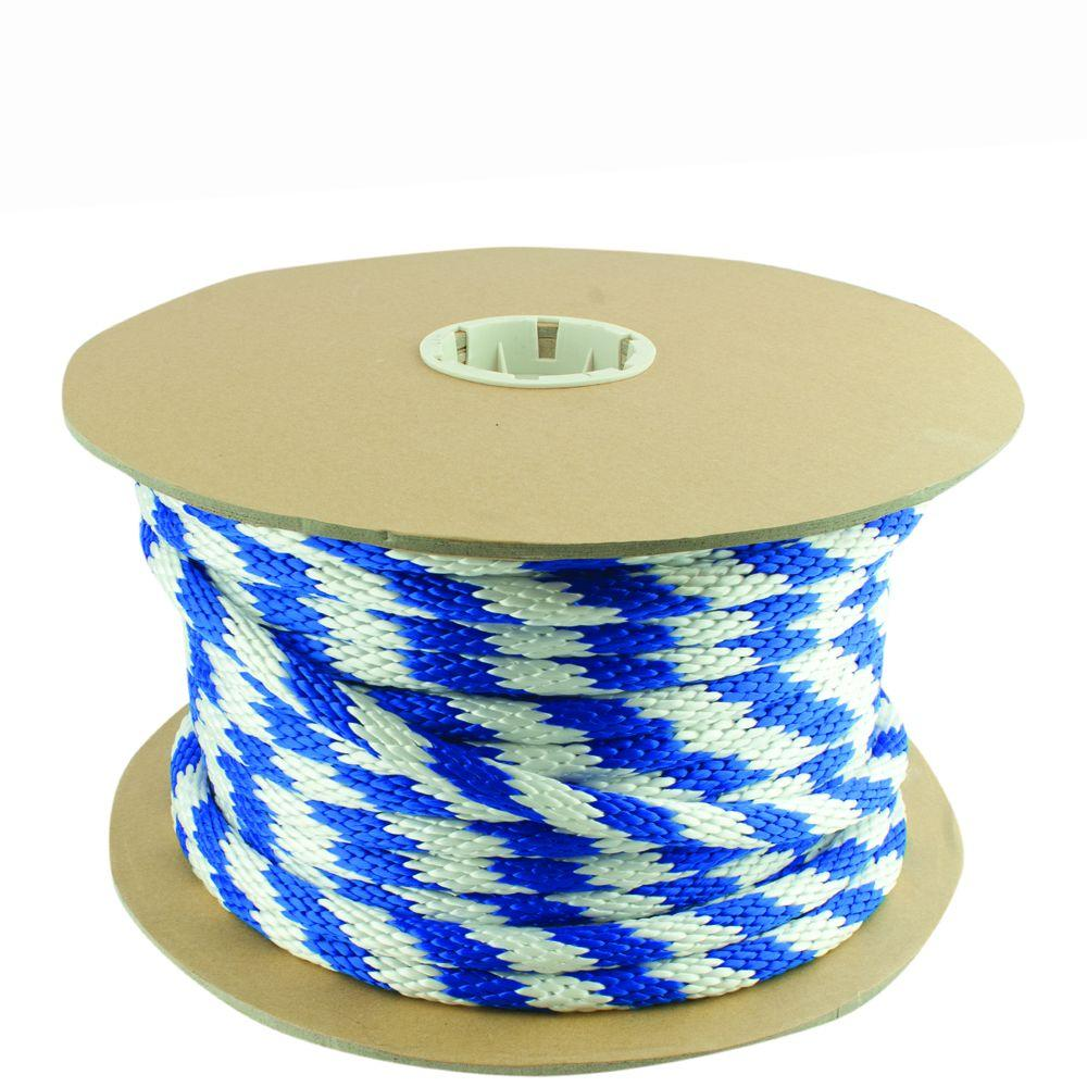 5/8 in. x 200 ft. Blue and White Solid Braid Polypropylene