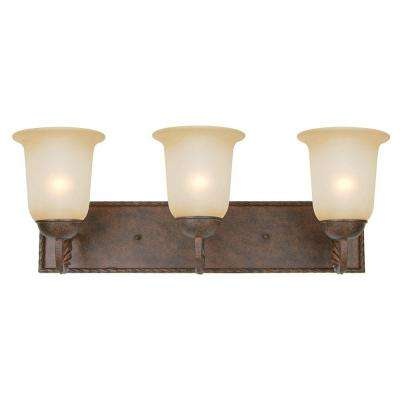 McKensi Collection 3-Light Bronze Patina Bathroom Vanity Light with Alabaster Glass Shade