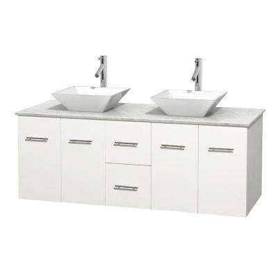 Centra 60 in. Double Vanity in White with Marble Vanity Top in Carrara White and Porcelain Sinks