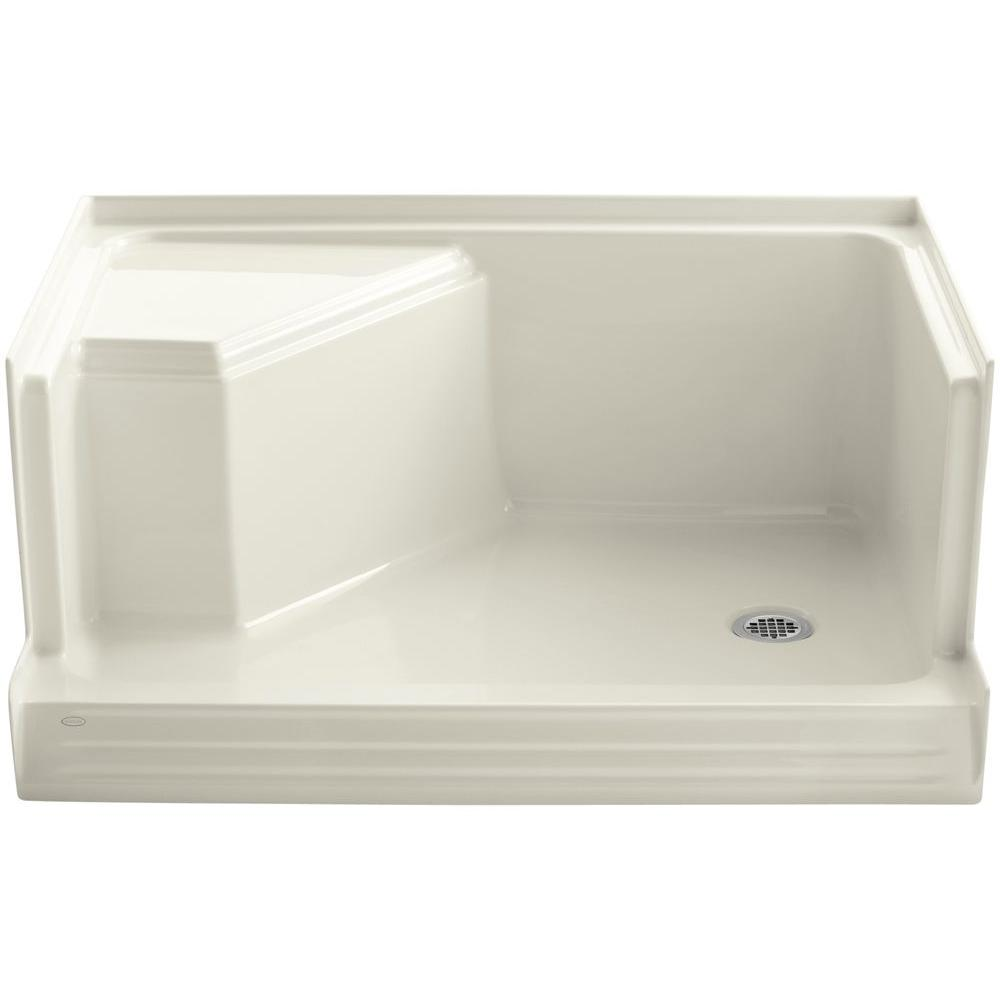 Single Threshold Shower Base With Integral Seat
