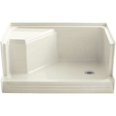 Memoirs 48 in. x 36 in. Single Threshold Shower Base with Integral Seat on Left in Biscuit
