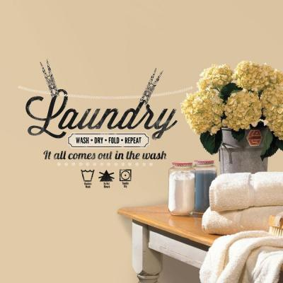 5 in. x 11.5 in. Laundry Quote Peel and Stick Wall Decal