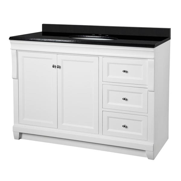 Naples 49 in. W x 22 in. D Bath Vanity in White with Granite Vanity Top in Midnight Black with Oval White Basin