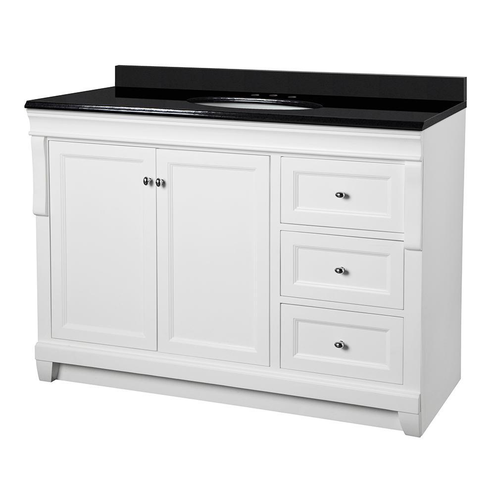 Naples 49 in. W x 22 in. D Vanity in White with Granite Vanity Top in Black with White Basin