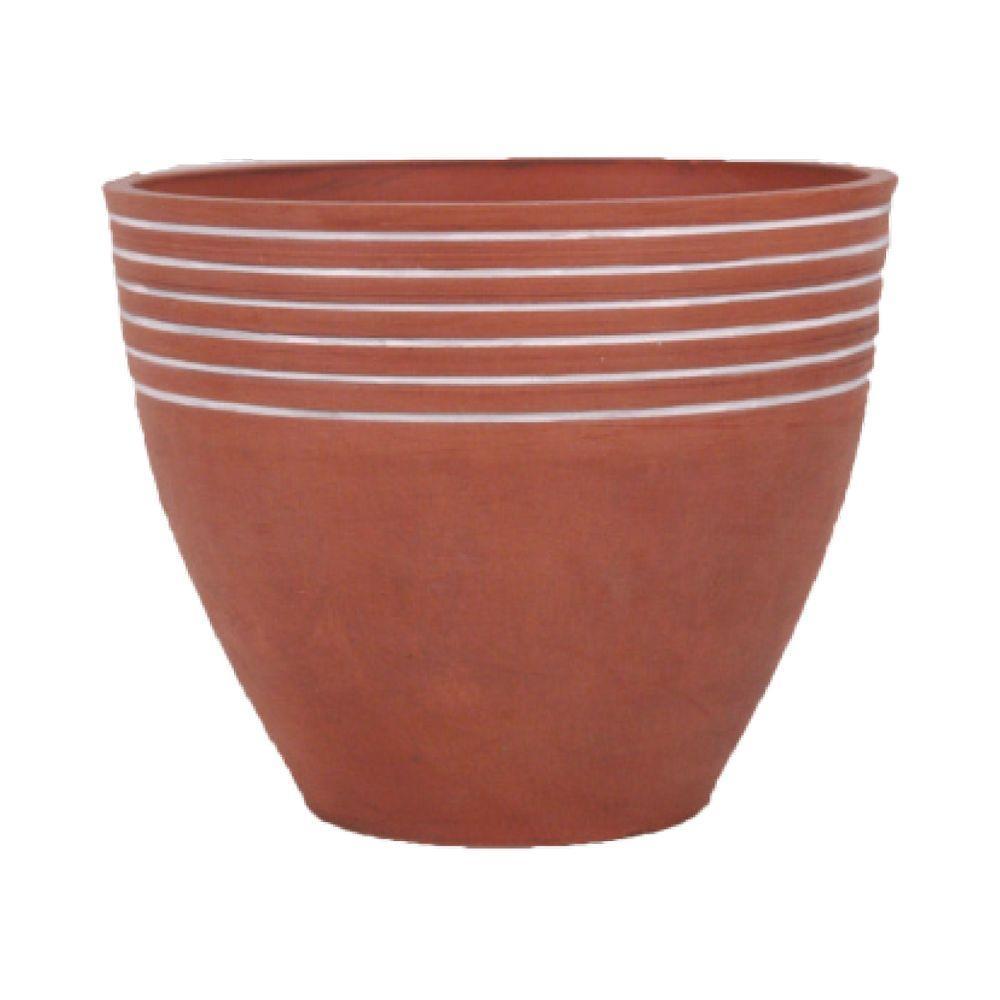 Striped 14 in. x 11 in. Terra Cotta PSW Pot