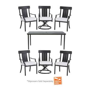 Hampton Bay Oak Heights 7-Piece Metal Outdoor Patio Dining Set with Cushion Insert (Slipcovers Sold Separately) by Hampton Bay