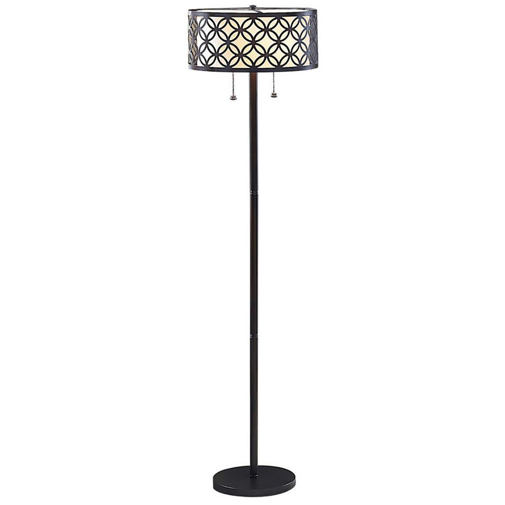 Bel Air Lighting Earling 63 in. Rubbed Oil Bronze Floor Lamp with ...