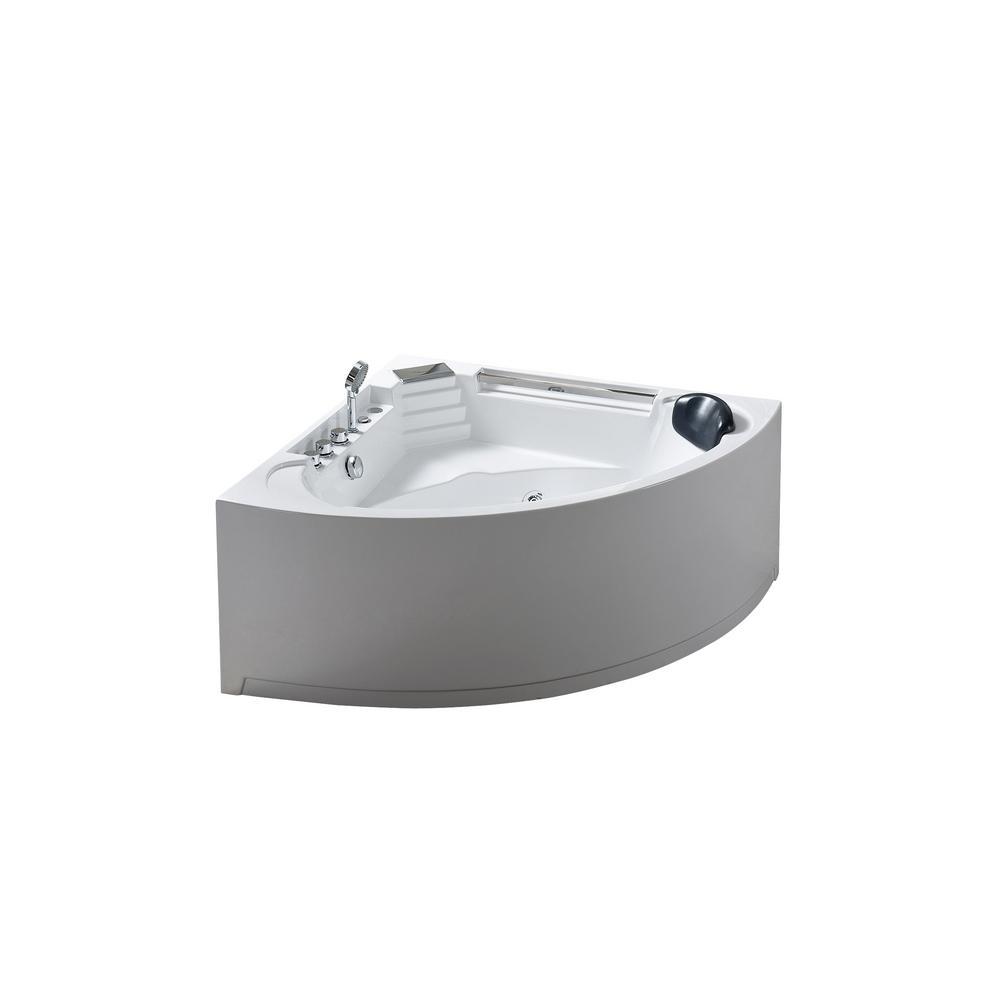 Daisy 53 In Acrylic Drain Center Corner Alcove Whirlpool Bathtub In White 0762179102830 The Home Depot