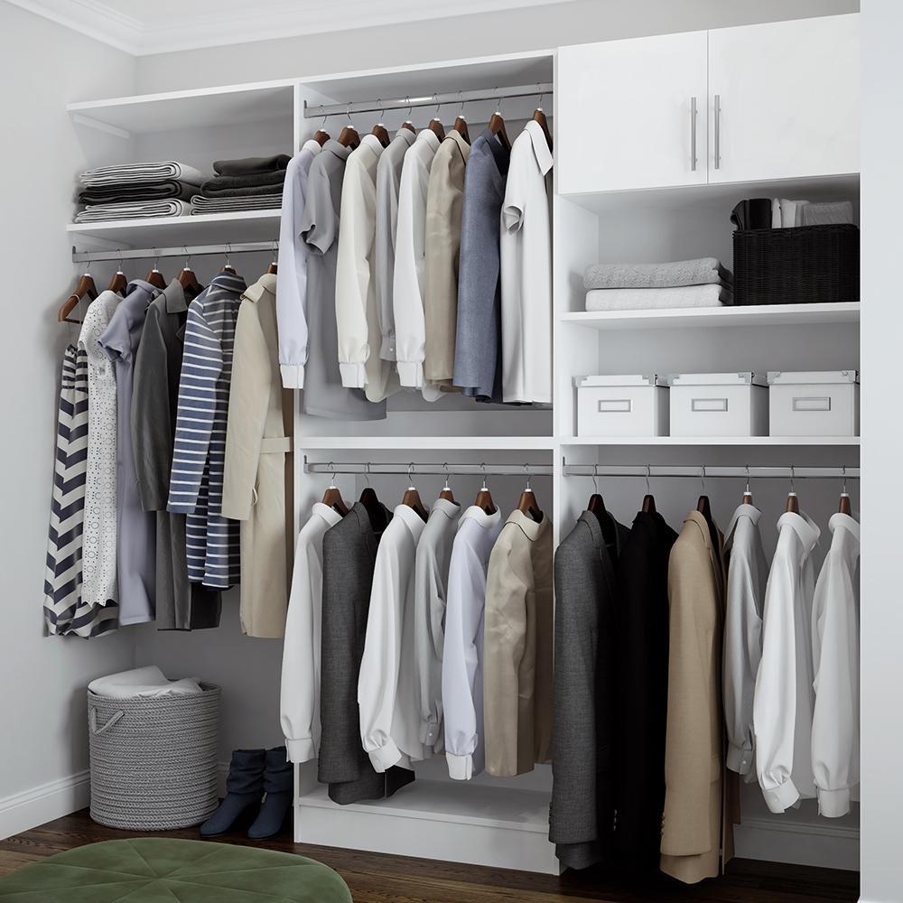 Horizon 84 in. H x 75 in. to 105 in. W x 15 in. D Melamine Reach-In Closet Kit in White
