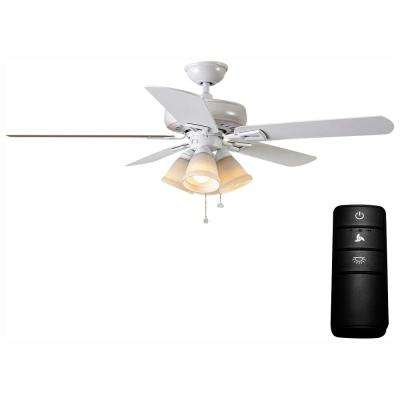 Lyndhurst 52 in. LED Matte White Ceiling Fan with Light Kit and Remote Control