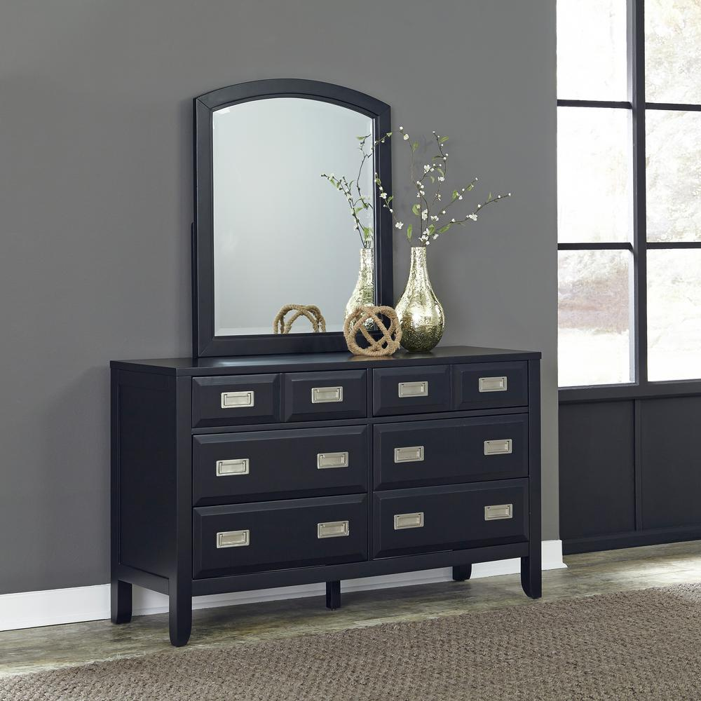 Home Styles Prescott 6 Drawer Black Dresser With Mirror