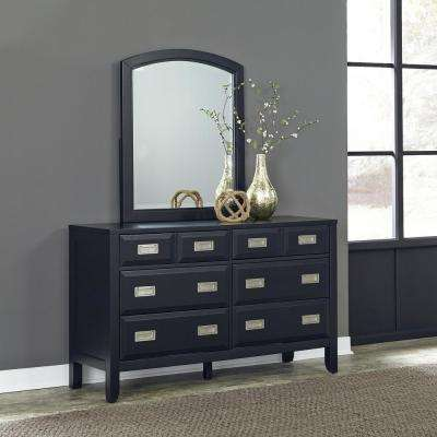Prescott 6 Drawer Black Dresser With Mirror