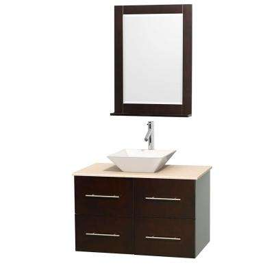 Centra 36 in. Vanity in Espresso with Marble Vanity Top in Ivory, Porcelain Sink and 24 in. Mirror
