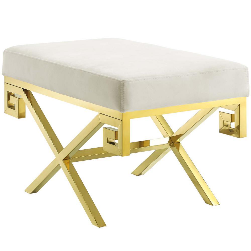 Gold Ivory Rove Velvet Bench