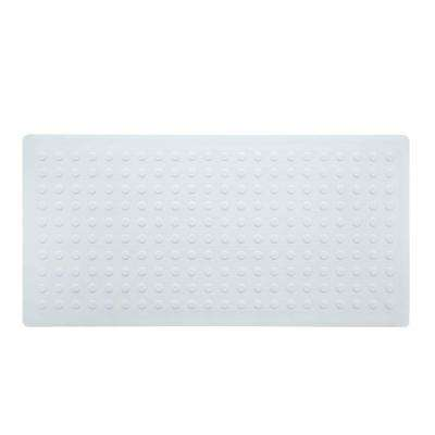 18 in. x 36 in. Extra Long Rubber Bath Safety Mat in White