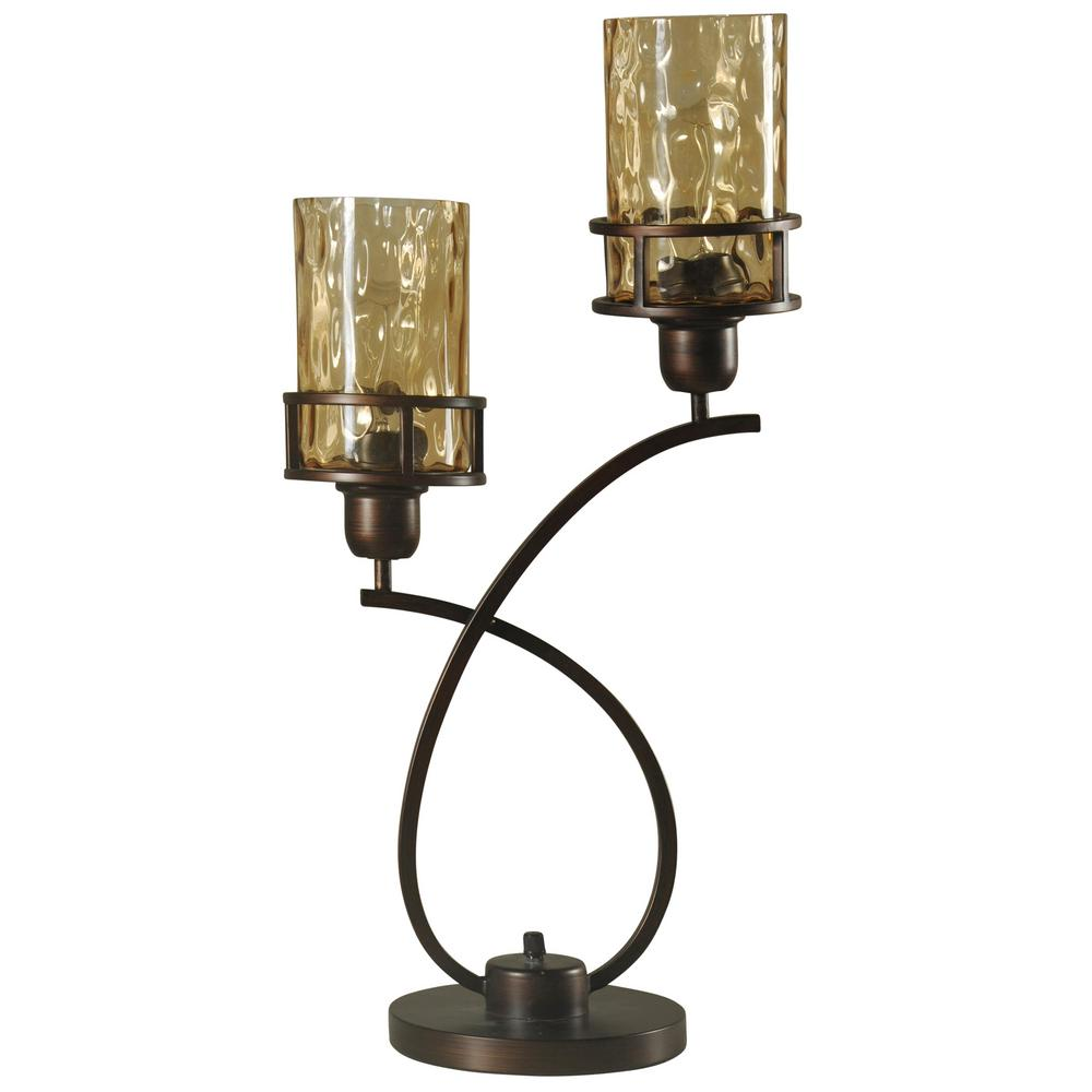 StyleCraft 26 in. Bronze Table Lamp with Amber Glass Shade