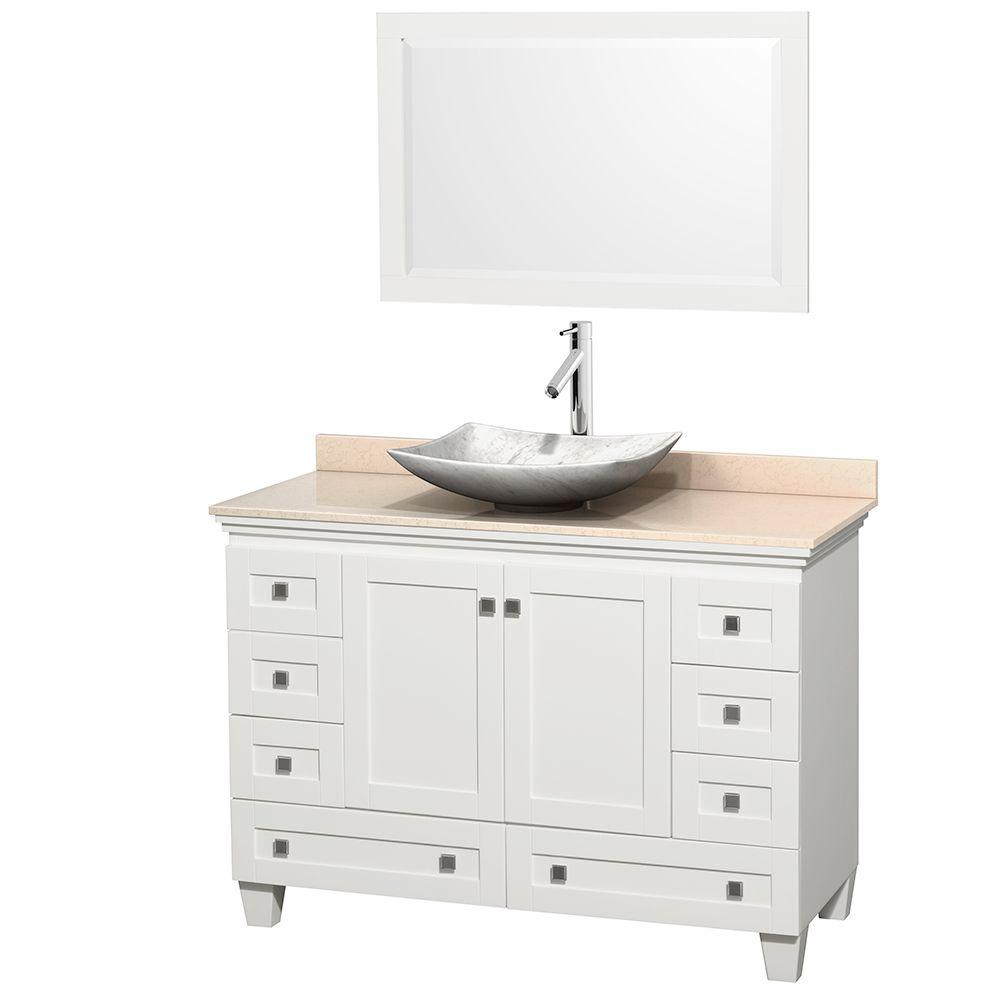 Wyndham Collection Acclaim 48 in. W Vanity in White with Marble Vanity Top in Ivory, White Carrara Marble Sink and Mirror