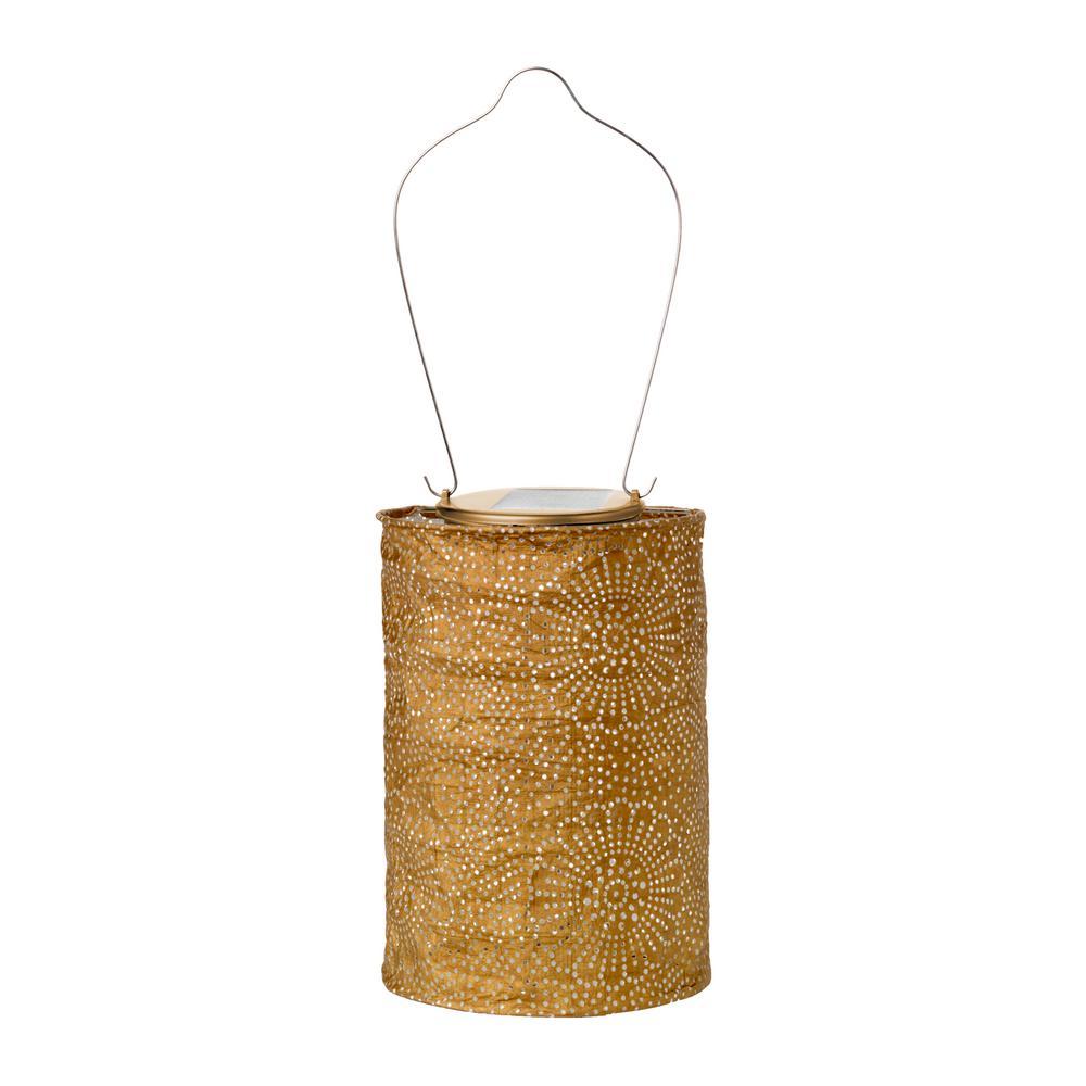 1-Light Soji Stella Drum 6.5 in. x 8 in. Bronze Solar Integrated LED Hanging Outdoor Tyvek UV Lantern