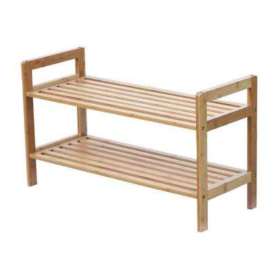 6-Pair 2-Tier Bamboo Shoe Rack