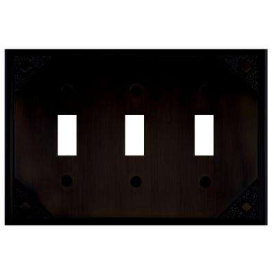 Craftsman 3 Toggle Metal Wall Plate - Oil Rubbed Bronze
