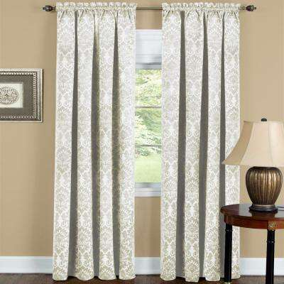 Sutton 52 in. W x 84 in. L Polyester Blackout Curtain Panel in Ivory