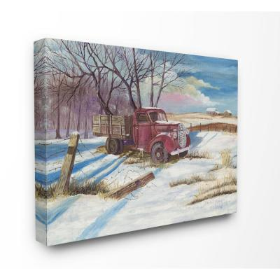 """24 in. x 30 in. """"Red Pickup Truck Scene with Snow on the Ground """" by David A Paine Canvas Wall Art"""