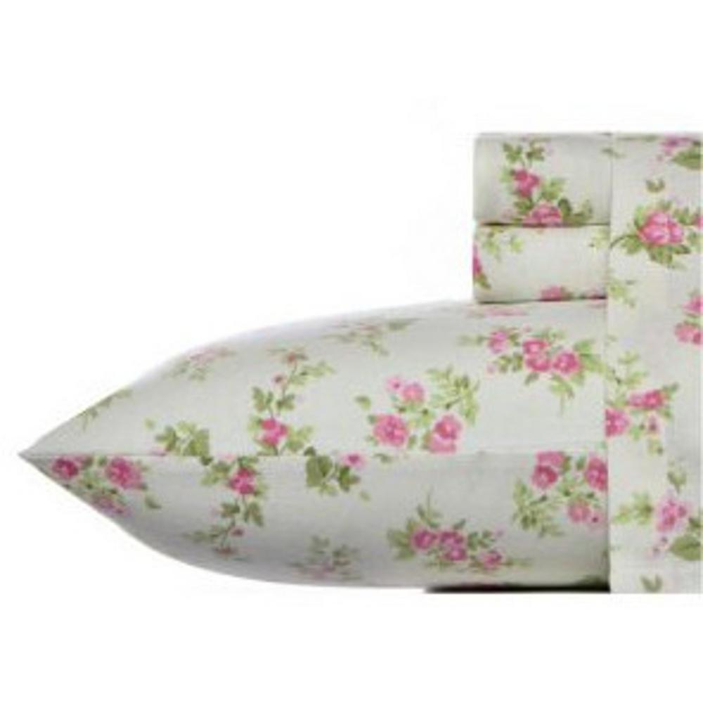 Flannel 4-Piece Medium Pink Floral Queen Sheet Set