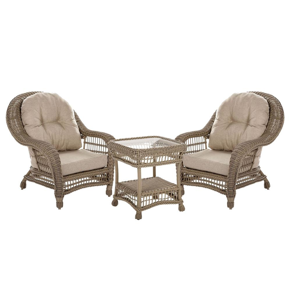 W Unlimited Saturn 3-Piece Wicker Patio Outdoor Conversation Set With Beige Cushions