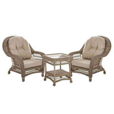 Saturn 3-Piece Wicker Patio Outdoor Conversation Set With Beige Cushions