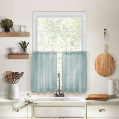 Cameron 30 in. W x 24 in. L Linen Kitchen Tiers in Mineral (Set of 2)