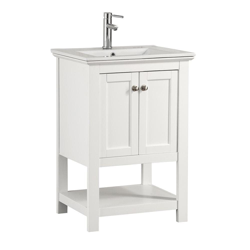 Attractive W Traditional Bathroom Vanity In White With Ceramic Vanity Top In