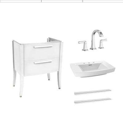 Townsend 30 in. Bath Vanity in White with Fireclay Vanity Top in White with 8 in. Widespread Faucet in Chrome
