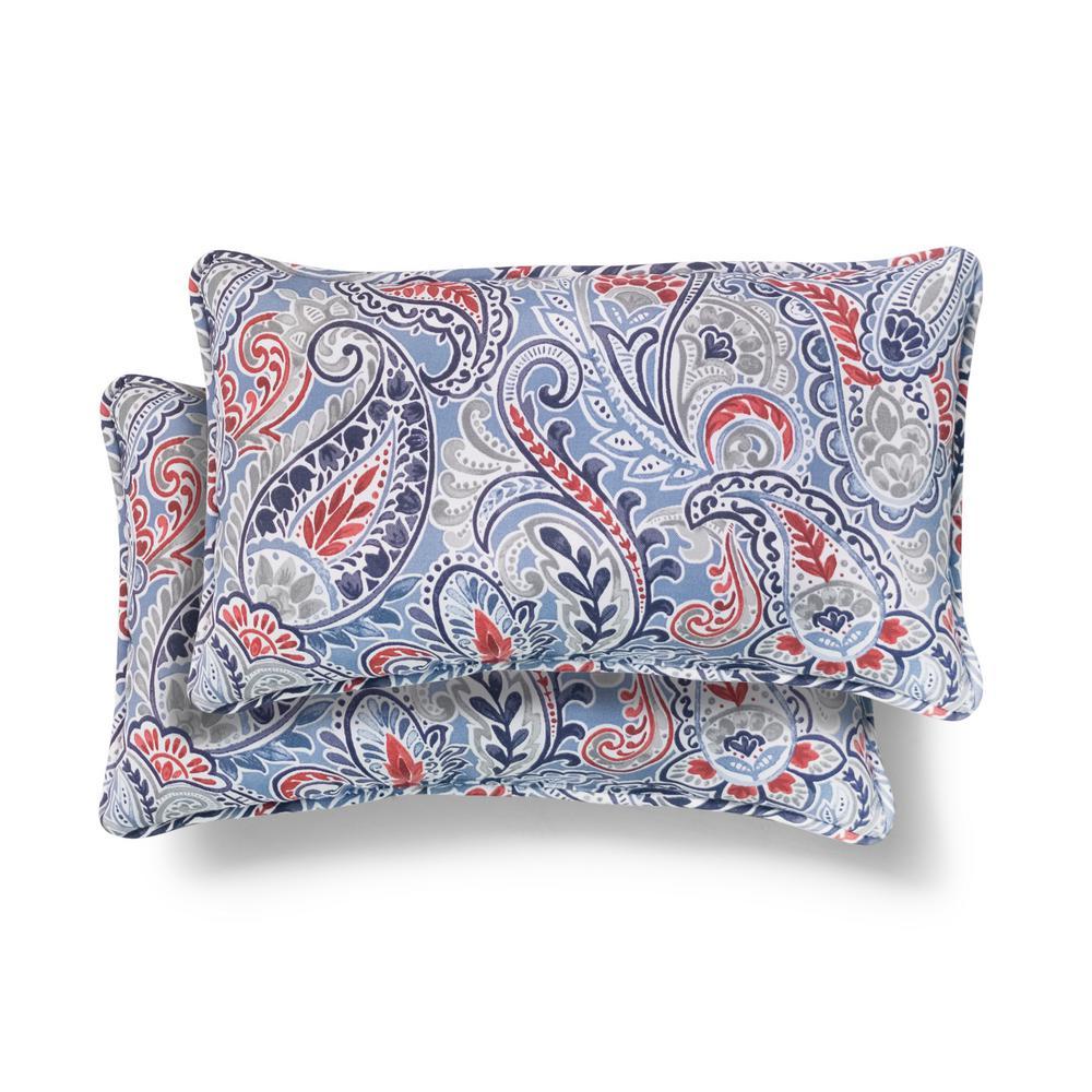 Hampton Bay 20 in. x 12 in. Denim Paisley Outdoor Lumbar Pillow (2 Pack)