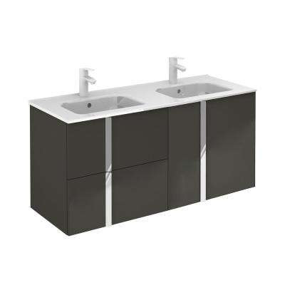 Onix 48 in. W x 18 in. D Vanity with Doors and Drawers in Anthracite with Vanity Top in White Ceramic Basin