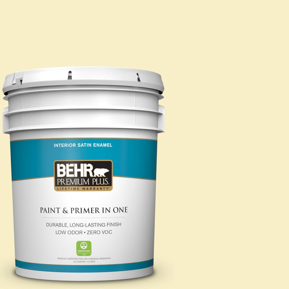 BEHR Premium Plus 5-gal. #400A-1 Candlelight Yellow Zero VOC Satin Enamel Interior Paint