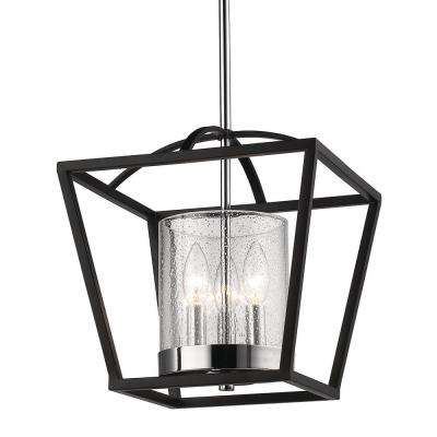 Mercer 3-Light Mini Chandelier in Matte Black with Chrome Accents and Seeded Glass