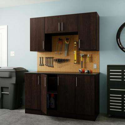 Horizon 84 in. H x 60 in. W x 24 in. D Melamine Complete Storage System Workshop in Mocha