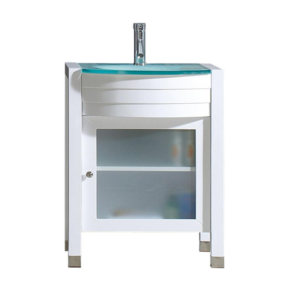 Virtu USA Ava 24 in. W Bath Vanity in White with Glass Vanity Top in Aqua Tempered Glass with Round Basin and Faucet