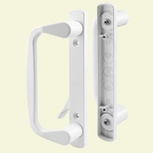 prime line white decorative siding door handle set c 1178 the home depot - Sliding Glass Door Handle